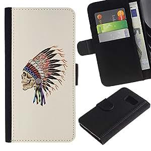 Be-Star la tarjeta de Crédito Slots PU Funda de cuero Monedero caso cubierta de piel Para Samsung Galaxy S6 ( Indian Feathers Skull Native American )