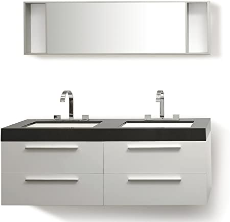Bagno Moderno Bianco E Nero.Beliani Arredamento Bagno Moderno Mobili 2 Lavabi Con Armadietti E
