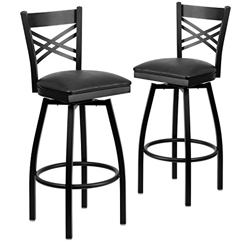Flash Furniture 2 Pk. HERCULES Series Black ''X'' Back Swivel Metal Barstool - Black Vinyl Seat Commercial Grade Furniture