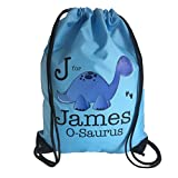 The Supreme Gift Company Personalised Kids Blue Dinosaur Drawstring Swimming, School, PE Bag For Boys