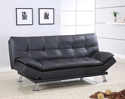 Best Quality Furniture S298 Sofa Bed Modern Faux Leather, Black