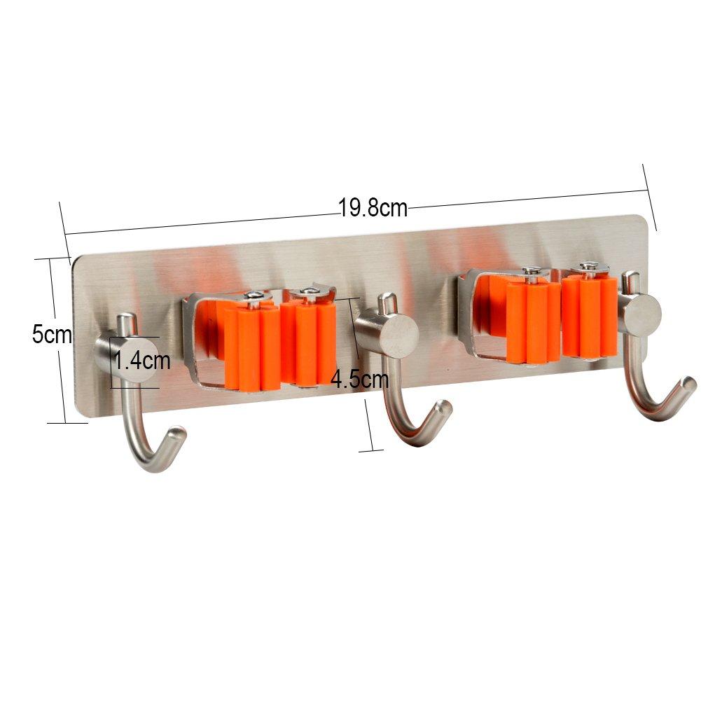 Zehu iStainless Steel Bathroom Kitchen 3M Self Adhesive Rack Home Organizer Tools Mop Broom Holder 2 Holders with 3 Hooks