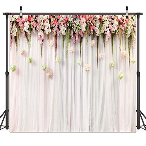 Dudaacvt 8x8ft Wedding Photo backdrops White Wedding Party Backgrounds Happy Birthday Backdrop Flower Backdrop for Photography Studio Q0490808
