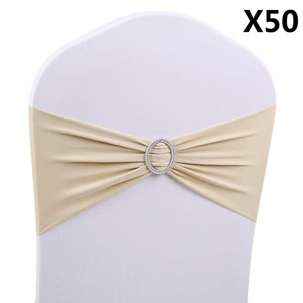 50PCS Elastic Chair Bands Stretch Spandex Chair Sashes Bands Bows Elastic Chair Band For Wedding Home Party Suppliers Decorations