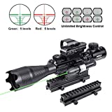 Pinty AR15 Rifle Scope 4-16X50EG Illuminated Optics Sight Green Laser, Holographic Dot Sight, Riser Mount 14 Slots Elevation & Windage Adjustment