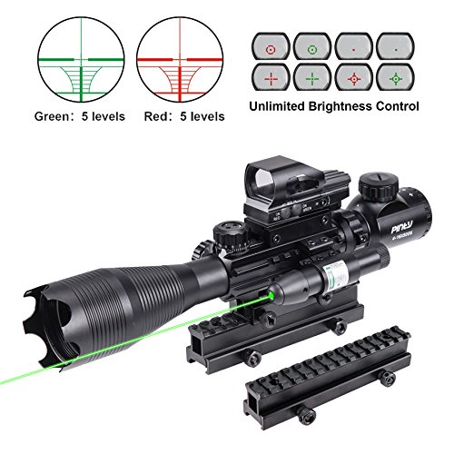 Pinty Rifle Scope 4-16X50 Illuminated Optics Sight Green Laser, Reflex Holographic Dot Sight, Riser Mount 14 Slots 1 inch High Riser ()