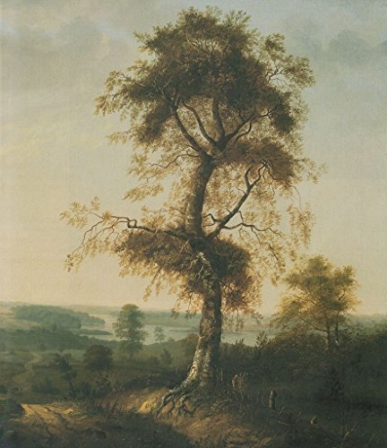 Cutler Miles Birch In Autumn Landscape by Johan Christian Dahl Hand Painted Oil on Canvas Reproduction Wall Art. 27x30 by Cutler Miles
