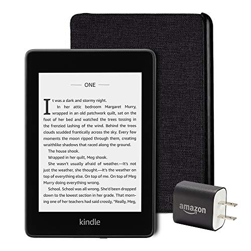 Kindle Paperwhite Essentials Bundle including Kindle Paperwhite - Wifi, Ad Supported, Amazon Water-safe Fabric Cover, and Power Adapter