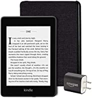 Kindle Paperwhite Essentials Bundle including Kindle Paperwhite - Wifi, Ad Supported, Amazon Water-safe Fabric