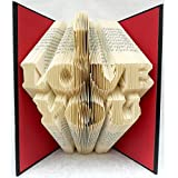 Hand Folded Book Art Sculpture, I LOVE YOU, for a Special Loved One, 1st Paper Anniversary Gift