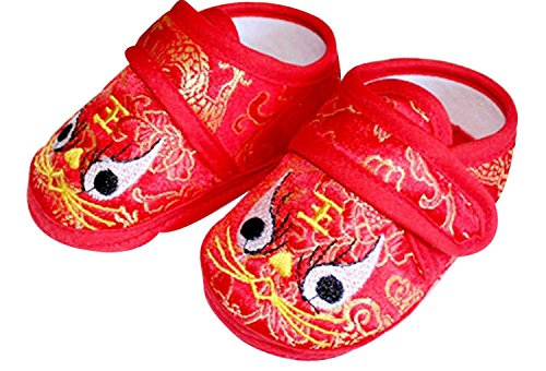 CRB Fashion Baby Newborn Infant Boy Girls Chinese New Years Asian Sock Shoes (11cm) (Asian Baby Girl)