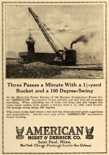 1925 Ad American Hoist & Derrick Co Eastern Connecticut - Original Print Ad by PeriodPaper LLC-Collectible...