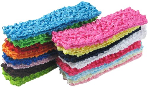HipGirl boutique de las niñas Stretch Headbands y sombreros Value Pack, 16pc 1.5' Crochet Headbands--color May Vary