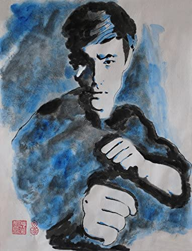 Jiangnanruyi Art Kungfu Bruce Lee Original Hand Painted Artwork Unframed Chinese Brush Ink and Wash Watercolor Painting Drawing Decorations Decor for Office Living Room Bedroom 24 18inch, Artwork-08