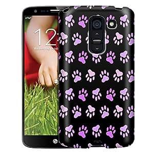 LG G2 Case, Slim Fit Snap On Cover by Trek Purple Paw Pattern on Black Case