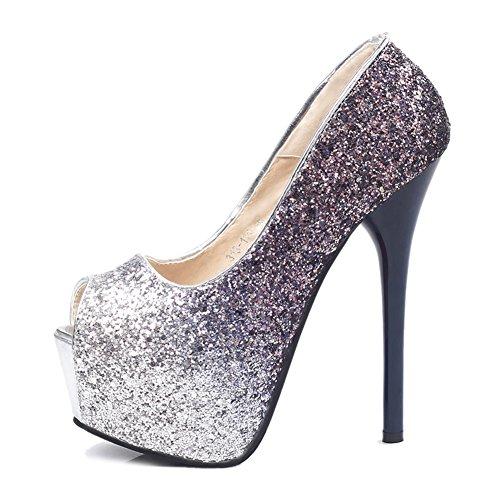 Fereshte B Peep Shoes Platform Sandals Pumps Blue Heels Stiletto High Women's toe rv7qwgra