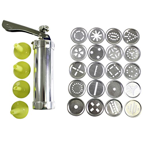 25 pc Aluminium Cookie Press Kit by Kurtzy - 20 Stainless Steel Discs & 4 Icing Tips for Use With Dough, Fondant or Batter - Supplied With Instructions - Great For Beginner and Professional Use
