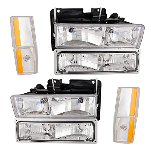 - HEADLIGHTSDEPOT Chrome Housing Halogen Headlights w/Corners and Park Lights Compatible with Chevrolet Blazer Suburban C/K Truck 1500 2500 3500 Includes Left Driver and Right Passenger Side Headlamps