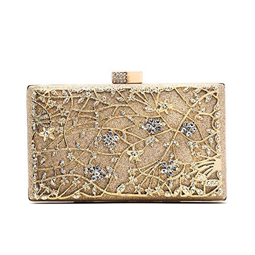 - Evening Clutch Bags, Pearl Beaded Evening Bag Night Purse Handbag For Women Wedding Prom Party (Gold)