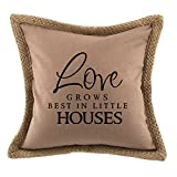 Love Grows Best In Little Houses Sofa Bed Home Decor Canvas Jute Pillow Cover Brown