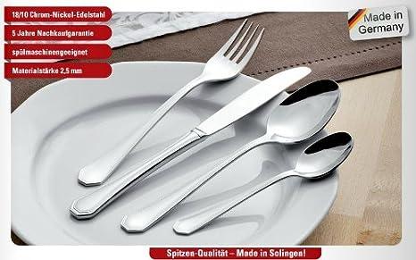 Esmeyer 6 unidades Tenedores de postre Cubiertos Set Modena 18/10 Acero inoxidable pulido, mezcla de calidad Cubiertos - Fabricado en Solingen: Amazon.es: ...