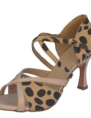 ShangYi Customizable Women's Dance Shoes Latin Satin Customized Heel Black/Brown/White Brown 8jYmBp