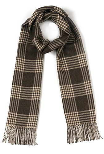 Cross Hatch Plaid Scarf 100% Pure Baby Alpaca - Unequalled Luxury for Men & Women (Heather Brown / Wheat) ()