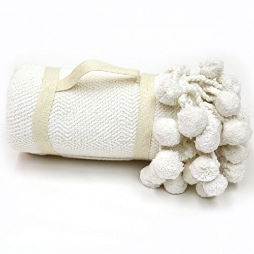 Cheap Karma Living Pompom Blanket - White free shipping
