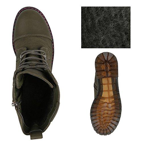 Stiefelparadies Damen Stiefeletten Zipper Leicht Gefütterte Stiefel Schnürstiefeletten Wildleder-Optik Damenschuhe Übergrößen Modische Boots Flandell Dunkelgrün
