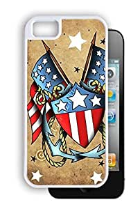New Style American Flags with Anchors - White iPhone 5, 5S Dual Protective Durable Case