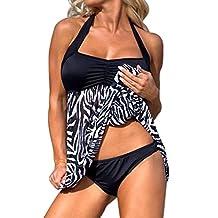 IEason Plus Size Women Push-up Swim Dress Tankini Sets Two Piece Swimsuit Bikini