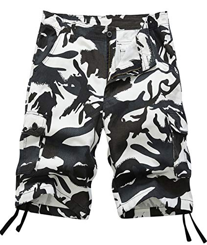 (Pinkpum Men's Overalls Shorts Camouflage Button Pocket Overalls Casual Tooling Shorts Blackwhite US33=34)