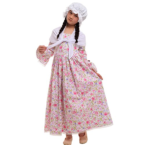GRACEART Colonial Girls Dress Prairie Pioneer Costume 100% Cotton (Rose,Size-14) -