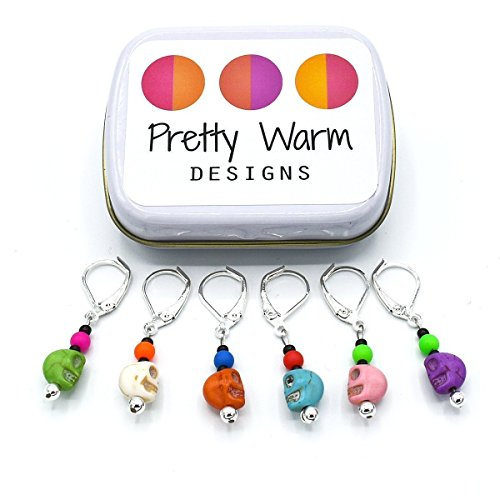 Colorful Skulls Locking Stitch Markers Jewelry for Crochet (Set of 6 with - Online Glass Shops