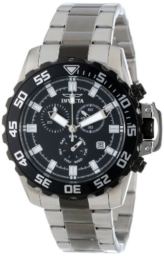 - Invicta Men's 13630X Pro Diver Chronograph Black Dial Two Tone Stainless Steel Watch