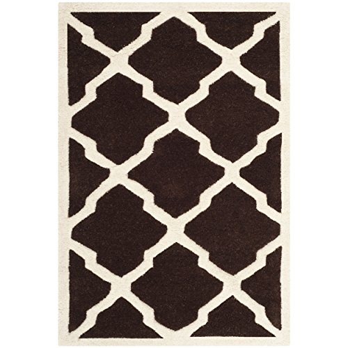 Safavieh Chatham Collection CHT735R Handmade Dark Brown and Ivory Premium Wool Area Rug (3' x 5') - Dark Brown Wool Rug