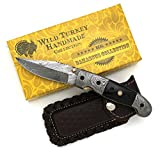 Wild Turkey Handmade Damascus Collection Buffalo Horn Folding Knife 8″ Overall For Sale