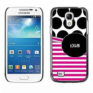 Paccase / SLIM PC / Aliminium Casa Carcasa Funda Case Cover - Polka Dot Pink Stripes Text White - Samsung Galaxy S4 Mini i9190 MINI VERSION!