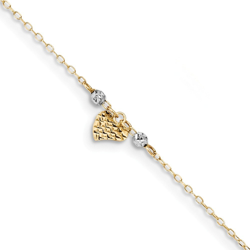 Jewelry Adviser Beads 14k Two-tone D//C Heart /& Beads w//1in Ext Anklet Length 10