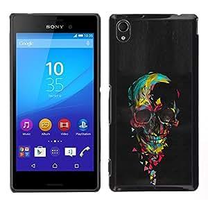 """For Sony Xperia M4 Aqua Case , Acuarela del cráneo de la pintura al óleo Negro"""" - Diseño Patrón Teléfono Caso Cubierta Case Bumper Duro Protección Case Cover Funda"""