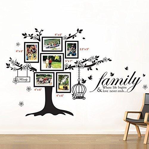 15 opinioni per Walplus- Set di adesivi da parete: cornici portafoto con albero e gabbia per