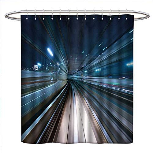 Anyangeight Modern Shower Curtains Sets Bathroom Motion Blur of City and Tunnel Moving Monorail in Tokyo Futuristic Transportation Satin Fabric Sets Bathroom W69 x L70 Dark Blue ()