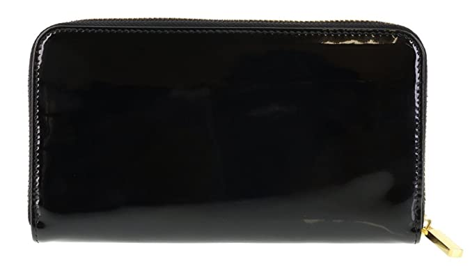 768ce7d75cc6 Amazon.com  Tory Burch Stacked Patent Zip Around Continental Wallet in  BLACK  Shoes