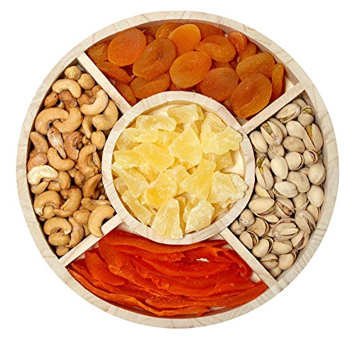 Sincerely Nuts Dried Fruit and Nut 5-Sectional Gift Tray | Roasted & Unsalted Pistachios, Roasted & Unsalted cashews, Turkish Apricots, Pineapple Tidbits, & Dried Mango Slices (Fruit Gift Basket Delivery)