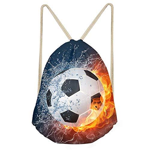 Showudesigns Children Drawstring Backpack String Sack Gymbag Soccer Design Outdoor Travel Storage