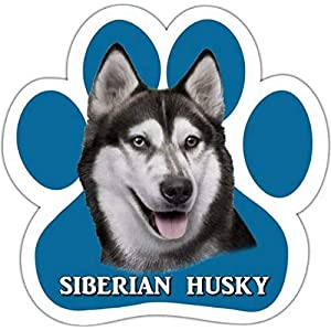 Siberian Husky Car Magnet With Unique Paw Shaped Design Measures 5.2 by 5.2 Inches Covered In UV Gloss For Weather Protection 32