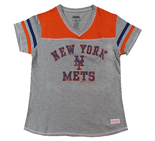MLB New York Mets Girl's V-Neck Jersey Top, Grey, Large