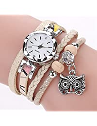 Owl Bracelet Watch,COOKI Analog Fashion Clearance Lady Watches Pendant Rhinestone Female watches on Sale Casual Wrist Watches for Women,Round Dial Case Comfortable Leather Watch-A247 (beige)