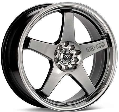 18x7.5 Enkei EV5 (Hyper Black w/ Machined Lip) Wheels/Rims 5x100/114.3 (446-875-0245HB)