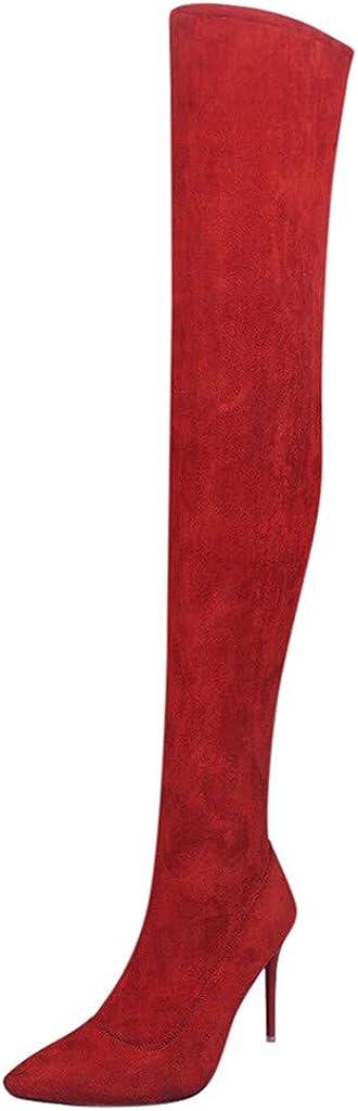 TWIFER Botas para Mujer Tacones Altos Zapatos Calentar Botas De Nieve Color Sólido Otoño Invierno Zapatos Estiramiento Rodilla Botas Negro Marrón Gris Rojo 35-41